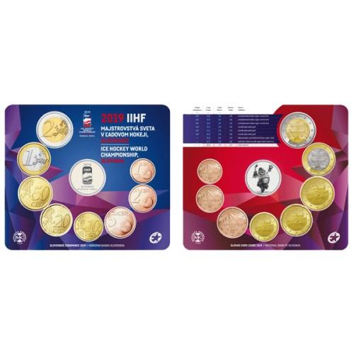 fbaa500bf5a41 Sada obehových EURO mincí SR 2019 - MS v hokeji IIHF (Obr. 0) ...